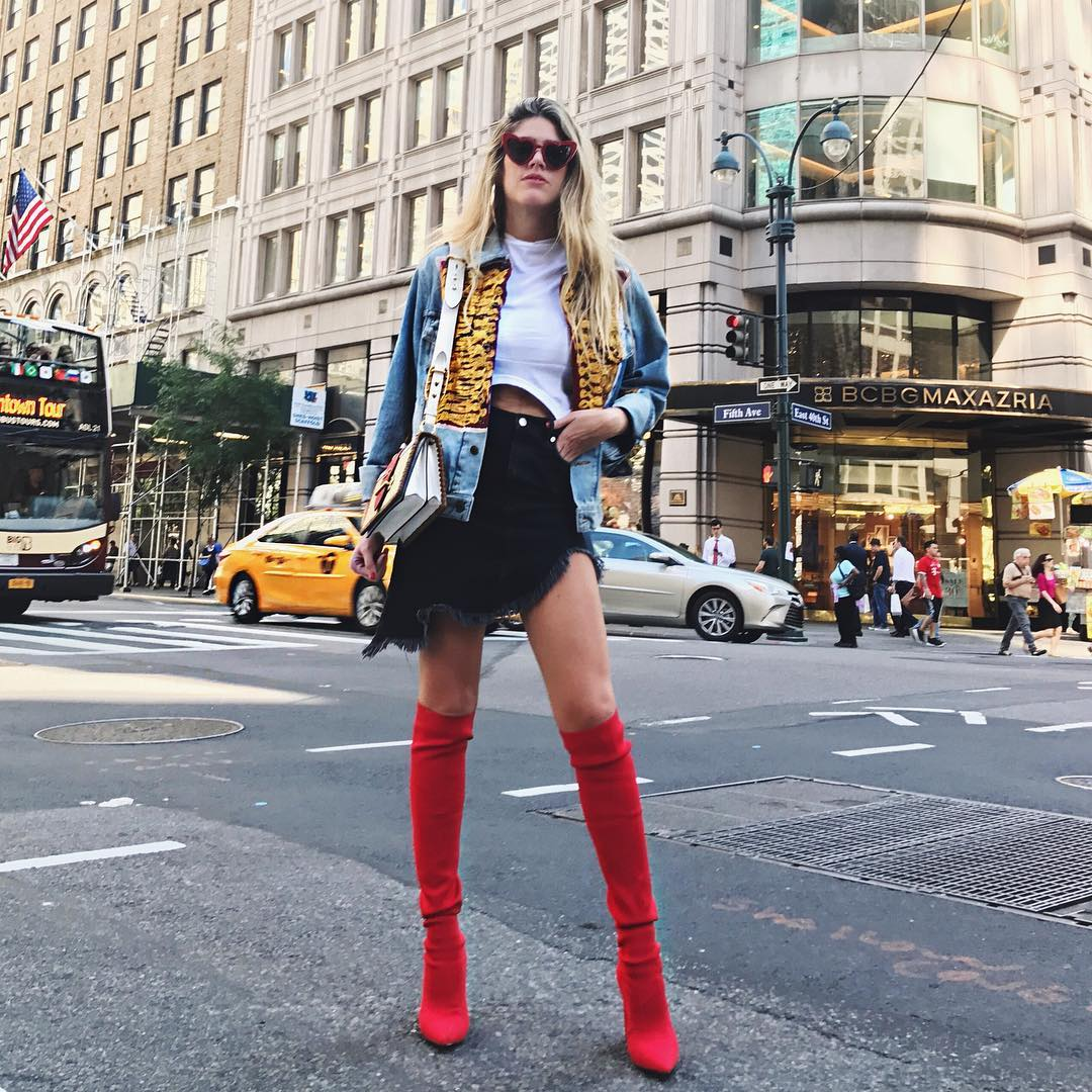 Conquering the streets in red boots